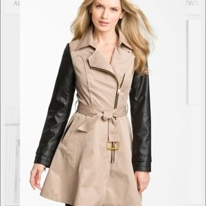 Bebe Taupe With Black Leather Sleeved 3/4 Length